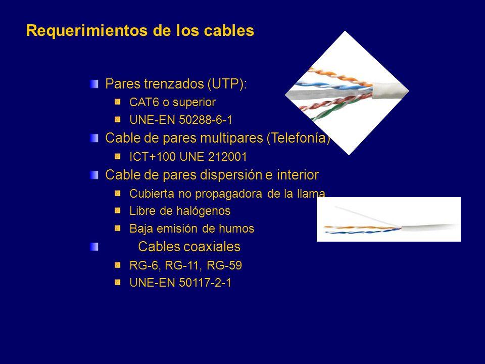 Pares trenzados (UTP): CAT6 o superior UNE-EN 50288-6-1 Cable de pares multipares (Telefonía) ICT+100 UNE 212001 Cable de pares dispersión e interior Cubierta no propagadora de la llama Libre de halógenos Baja emisión de humos Cables coaxiales RG-6, RG-11, RG-59 UNE-EN 50117-2-1 Requerimientos de los cables