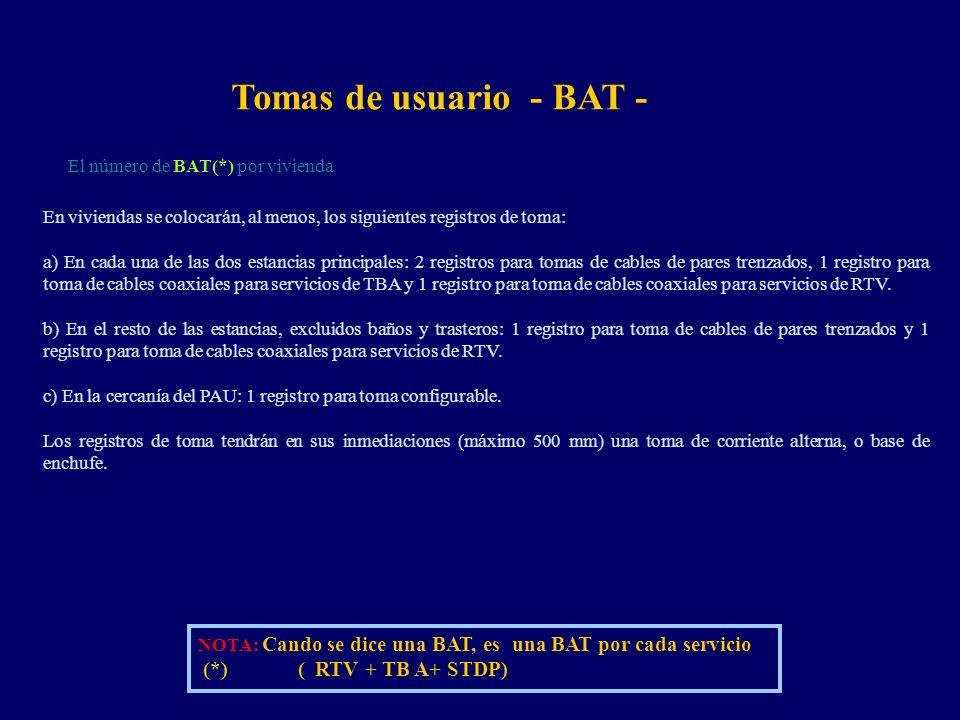 Tomas de usuario - BAT - NOTA: Cando se dice una BAT, es una BAT por cada servicio (*) ( RTV + TB A+ STDP) En viviendas se colocarán, al menos, los siguientes registros de toma: a) En cada una de las dos estancias principales: 2 registros para tomas de cables de pares trenzados, 1 registro para toma de cables coaxiales para servicios de TBA y 1 registro para toma de cables coaxiales para servicios de RTV.