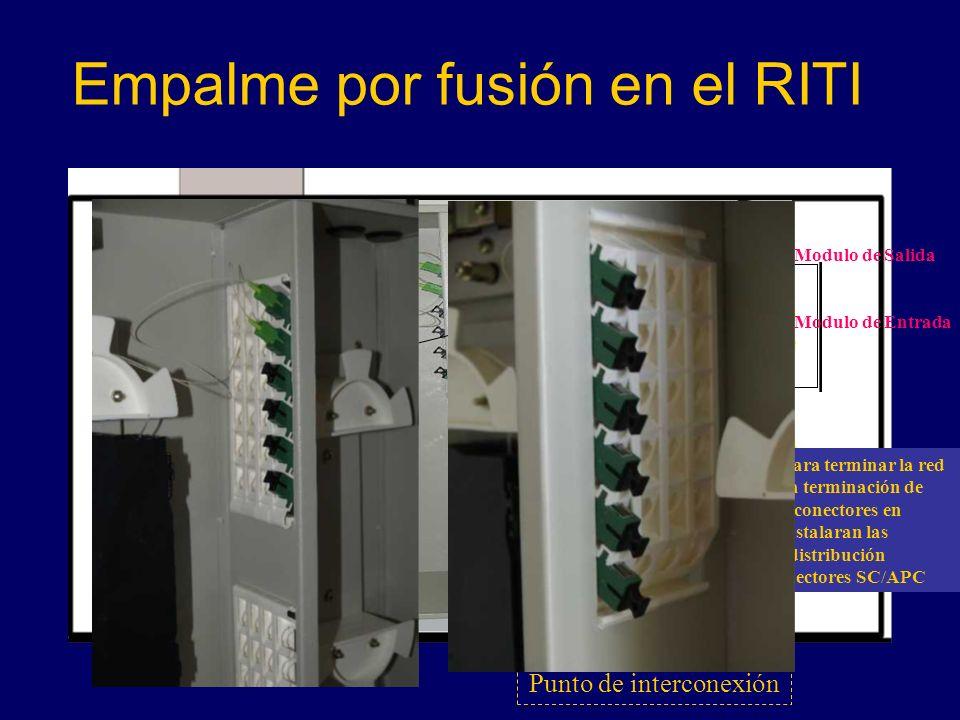 Empalme por fusión en el RITI Punto de interconexión Modulo de Salida Modulo de Entrada El modulo básico para terminar la red de F.O.