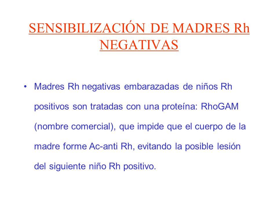 SENSIBILIZACIÓN DE MADRES Rh NEGATIVAS Madres Rh negativas embarazadas de niños Rh positivos son tratadas con una proteína: RhoGAM (nombre comercial),