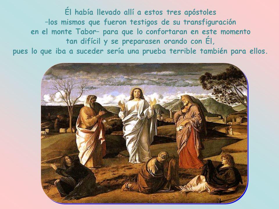 Él había llevado allí a estos tres apóstoles –los mismos que fueron testigos de su transfiguración en el monte Tabor– para que lo confortaran en este momento tan difícil y se preparasen orando con Él, pues lo que iba a suceder sería una prueba terrible también para ellos.