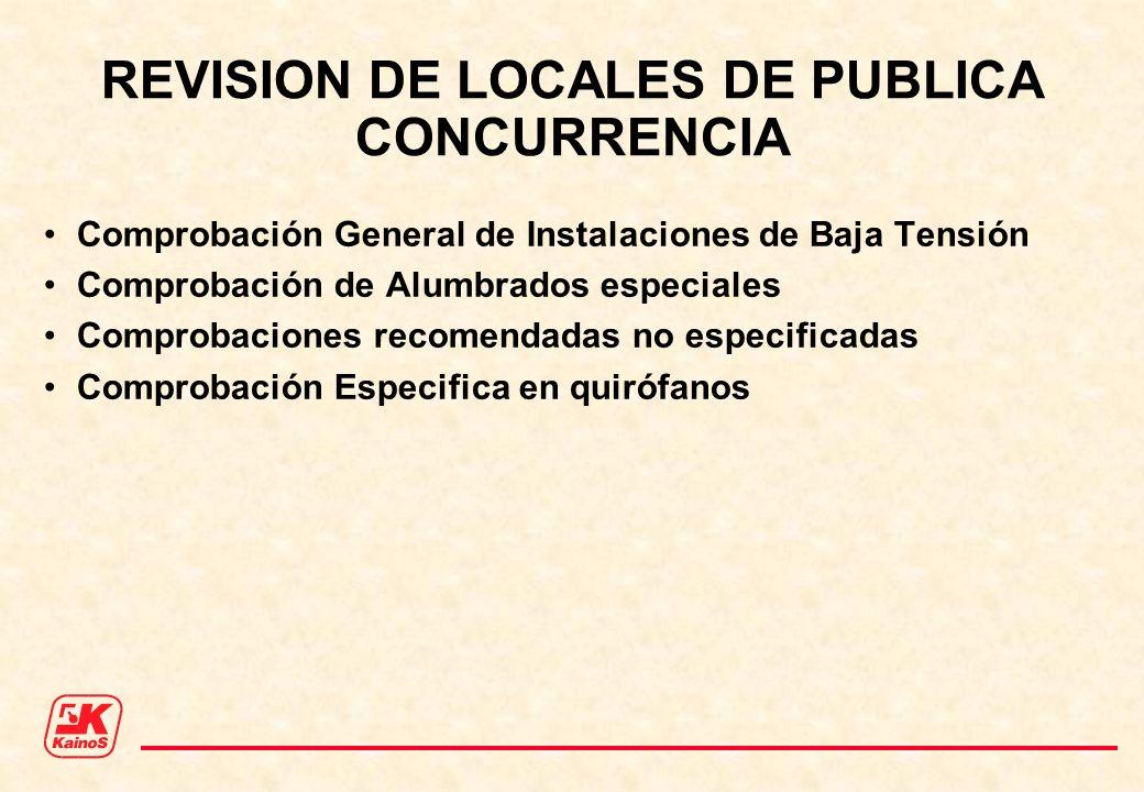 REVISION DE LOCALES DE PUBLICA CONCURRENCIA Comprobación General de Instalaciones de Baja Tensión Comprobación de Alumbrados especiales Comprobaciones