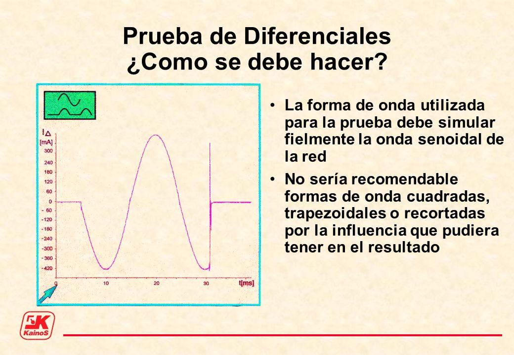 Prueba de Diferenciales ¿Como se debe hacer? La forma de onda utilizada para la prueba debe simular fielmente la onda senoidal de la red No sería reco
