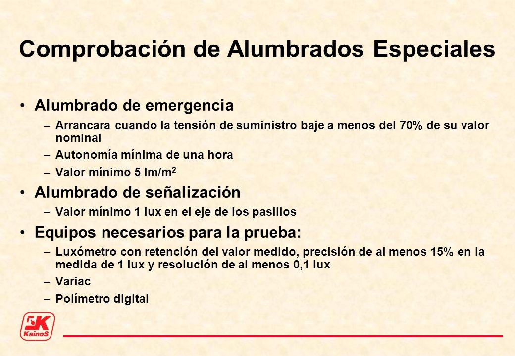 Comprobación de Alumbrados Especiales Alumbrado de emergencia –Arrancara cuando la tensión de suministro baje a menos del 70% de su valor nominal –Aut