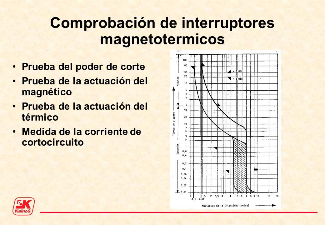 Comprobación de interruptores magnetotermicos Prueba del poder de corte Prueba de la actuación del magnético Prueba de la actuación del térmico Medida