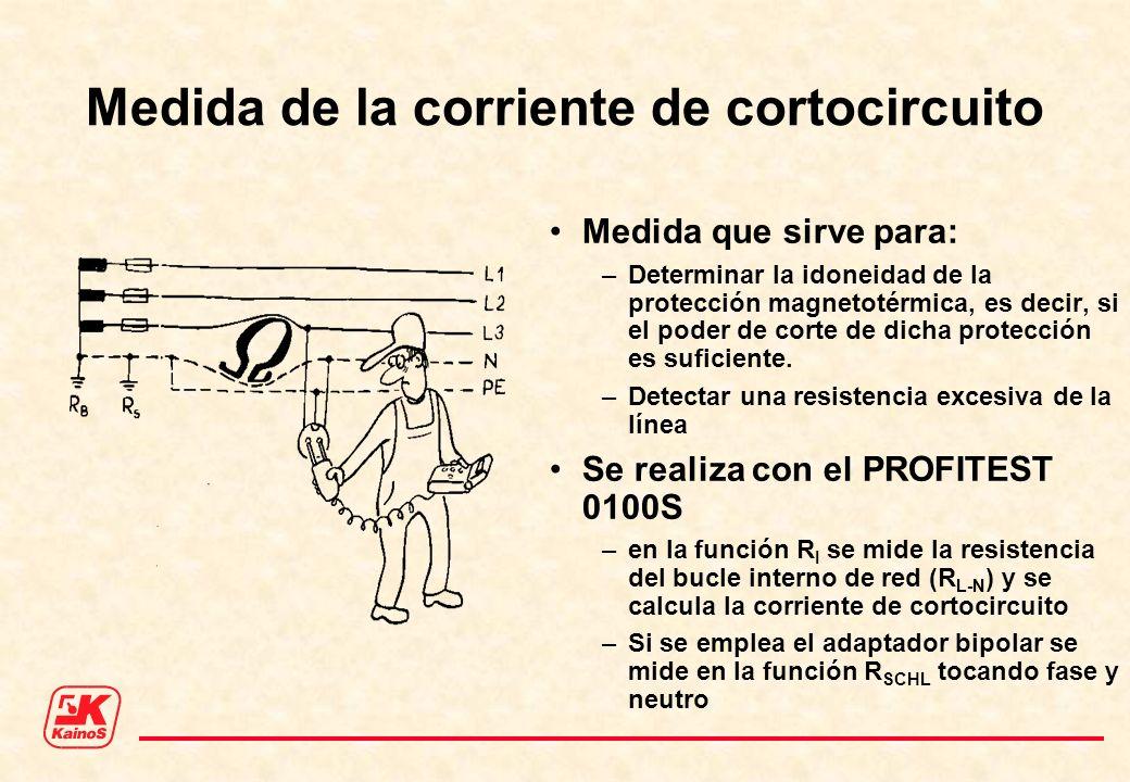 Medida de la corriente de cortocircuito Medida que sirve para: –Determinar la idoneidad de la protección magnetotérmica, es decir, si el poder de cort