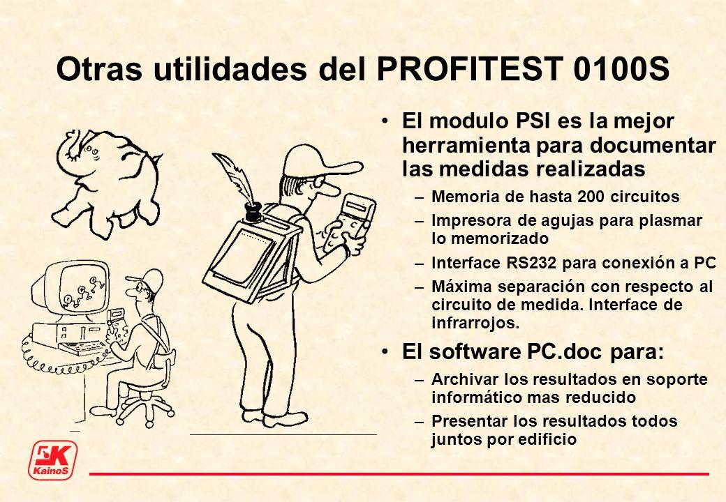 Otras utilidades del PROFITEST 0100S El modulo PSI es la mejor herramienta para documentar las medidas realizadas –Memoria de hasta 200 circuitos –Imp