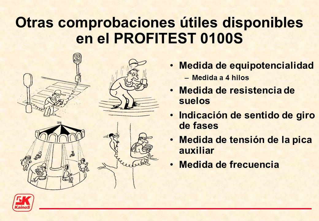 Otras comprobaciones útiles disponibles en el PROFITEST 0100S Medida de equipotencialidad –Medida a 4 hilos Medida de resistencia de suelos Indicación