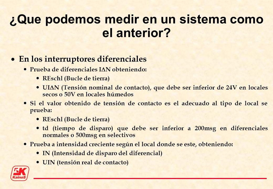 ¿Que podemos medir en un sistema como el anterior? En los interruptores diferenciales Prueba de diferenciales I N obteniendo: REschl (Bucle de tierra)