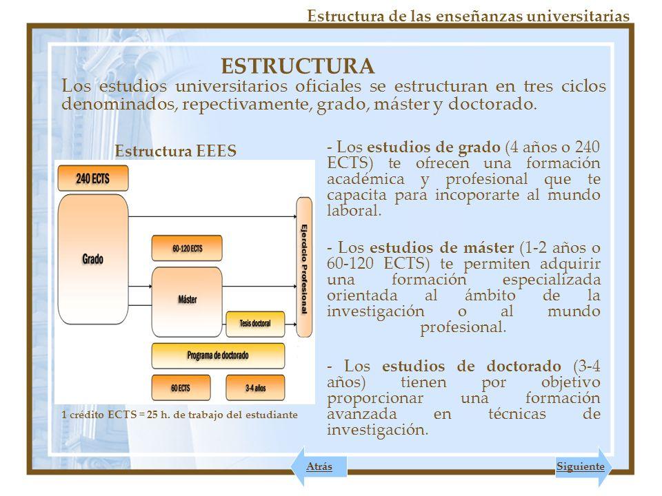 ESTRUCTURA Estructura de las enseñanzas universitarias Los estudios universitarios oficiales se estructuran en tres ciclos denominados, repectivamente, grado, máster y doctorado.