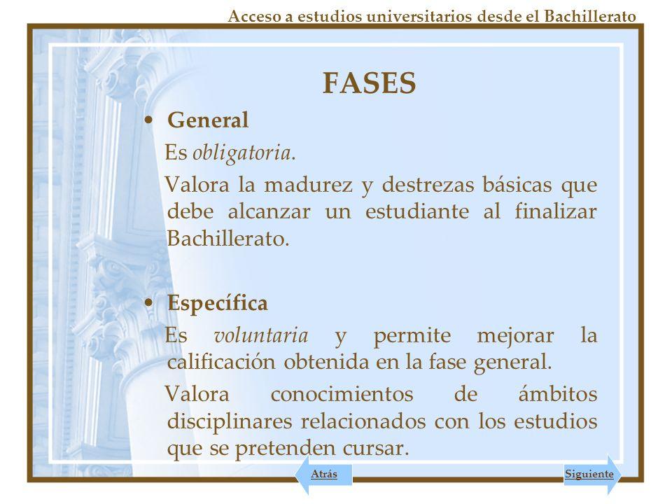 FASES General Es obligatoria.