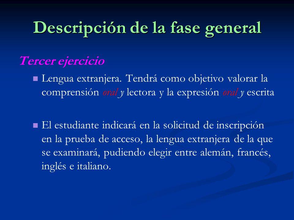 Descripción de la fase general Tercer ejercicio Lengua extranjera.