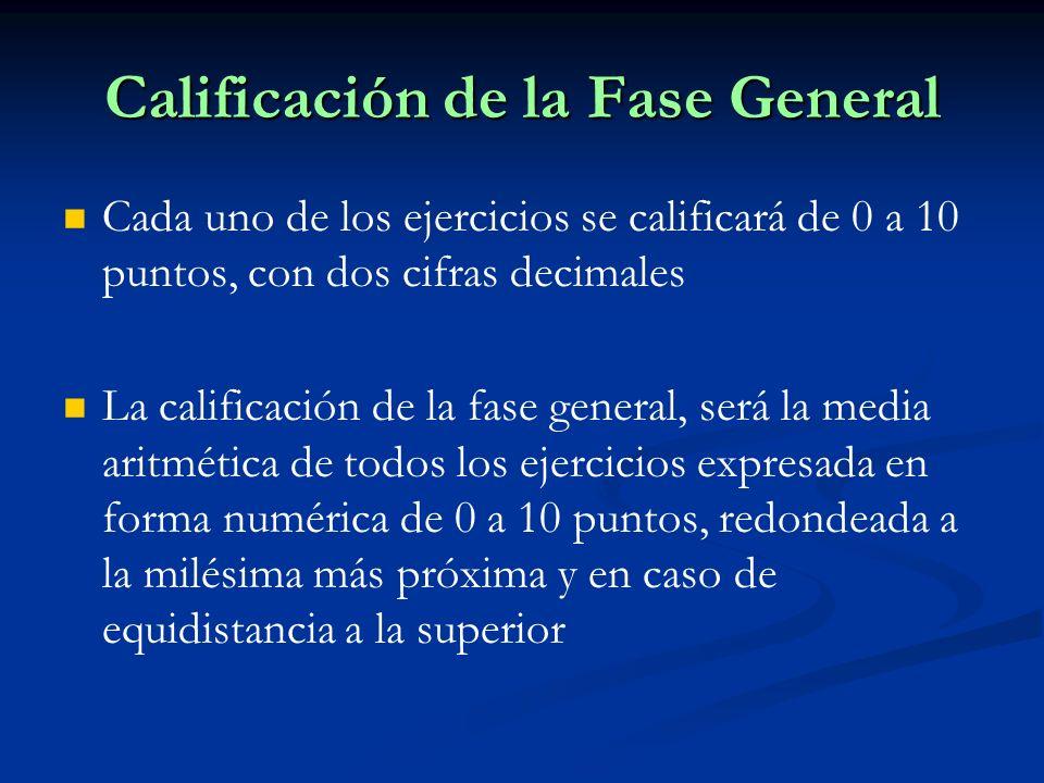 Calificación de la Fase General Cada uno de los ejercicios se calificará de 0 a 10 puntos, con dos cifras decimales La calificación de la fase general, será la media aritmética de todos los ejercicios expresada en forma numérica de 0 a 10 puntos, redondeada a la milésima más próxima y en caso de equidistancia a la superior