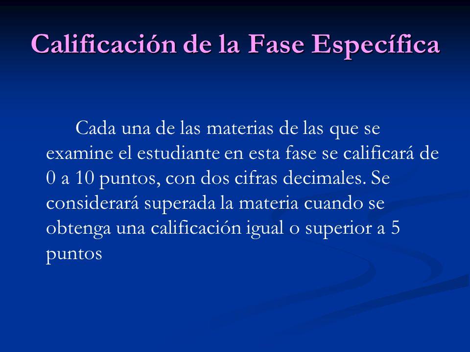 Calificación de la Fase Específica Cada una de las materias de las que se examine el estudiante en esta fase se calificará de 0 a 10 puntos, con dos cifras decimales.