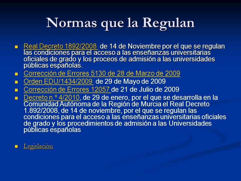 Normas que la Regulan Real Decreto 1892/2008 de 14 de Noviembre por el que se regulan las condiciones para el acceso a las enseñanzas universitarias oficiales de grado y los proceos de admisión a las universidades públicas españolas.