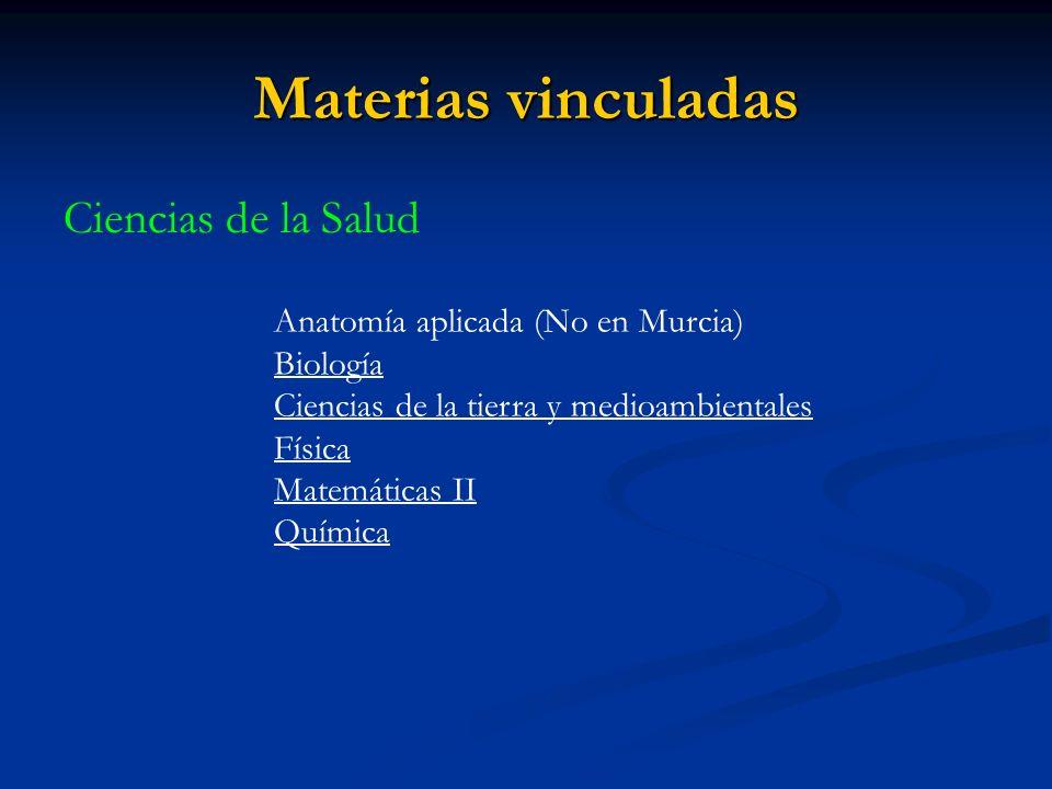 Materias vinculadas Ciencias de la Salud Anatomía aplicada (No en Murcia) Biología Ciencias de la tierra y medioambientales Física Matemáticas II Química