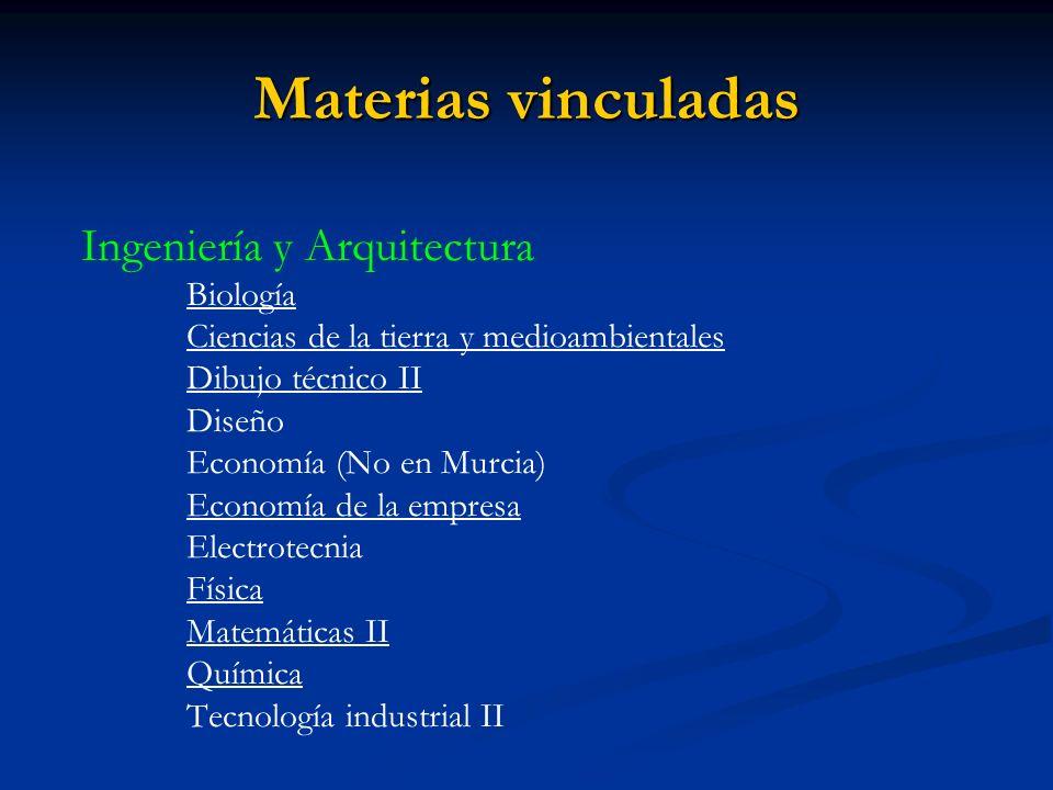 Materias vinculadas Ingeniería y Arquitectura Biología Ciencias de la tierra y medioambientales Dibujo técnico II Diseño Economía (No en Murcia) Economía de la empresa Electrotecnia Física Matemáticas II Química Tecnología industrial II