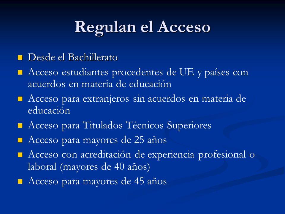 Regulan el Acceso Desde el Bachillerato Desde el Bachillerato Acceso estudiantes procedentes de UE y países con acuerdos en materia de educación Acceso para extranjeros sin acuerdos en materia de educación Acceso para Titulados Técnicos Superiores Acceso para mayores de 25 años Acceso con acreditación de experiencia profesional o laboral (mayores de 40 años) Acceso para mayores de 45 años