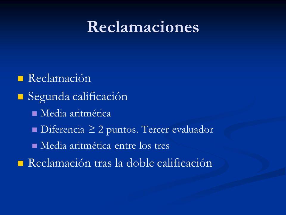Reclamaciones Reclamación Segunda calificación Media aritmética Diferencia 2 puntos.