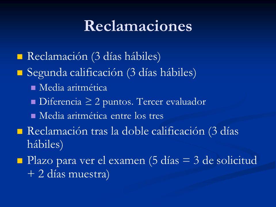 Reclamaciones Reclamación (3 días hábiles) Segunda calificación (3 días hábiles) Media aritmética Diferencia 2 puntos.