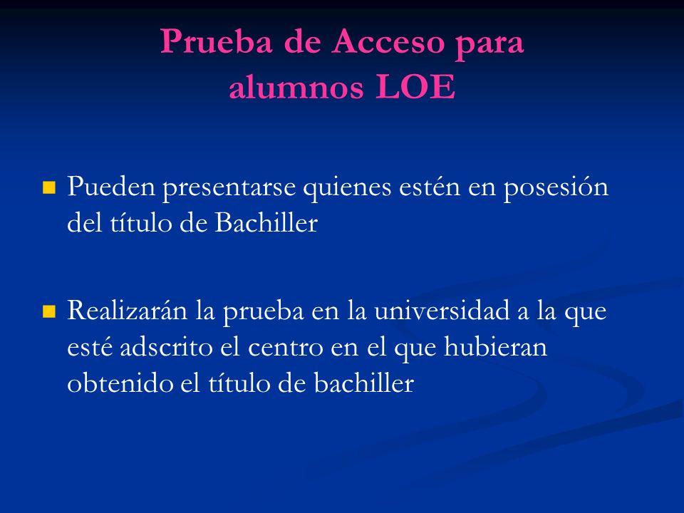 Prueba de Acceso para alumnos LOE Pueden presentarse quienes estén en posesión del título de Bachiller Realizarán la prueba en la universidad a la que esté adscrito el centro en el que hubieran obtenido el título de bachiller