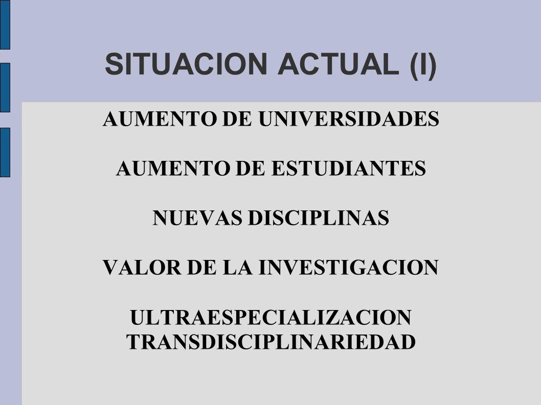 SITUACION ACTUAL (I) AUMENTO DE UNIVERSIDADES AUMENTO DE ESTUDIANTES NUEVAS DISCIPLINAS VALOR DE LA INVESTIGACION ULTRAESPECIALIZACION TRANSDISCIPLINA
