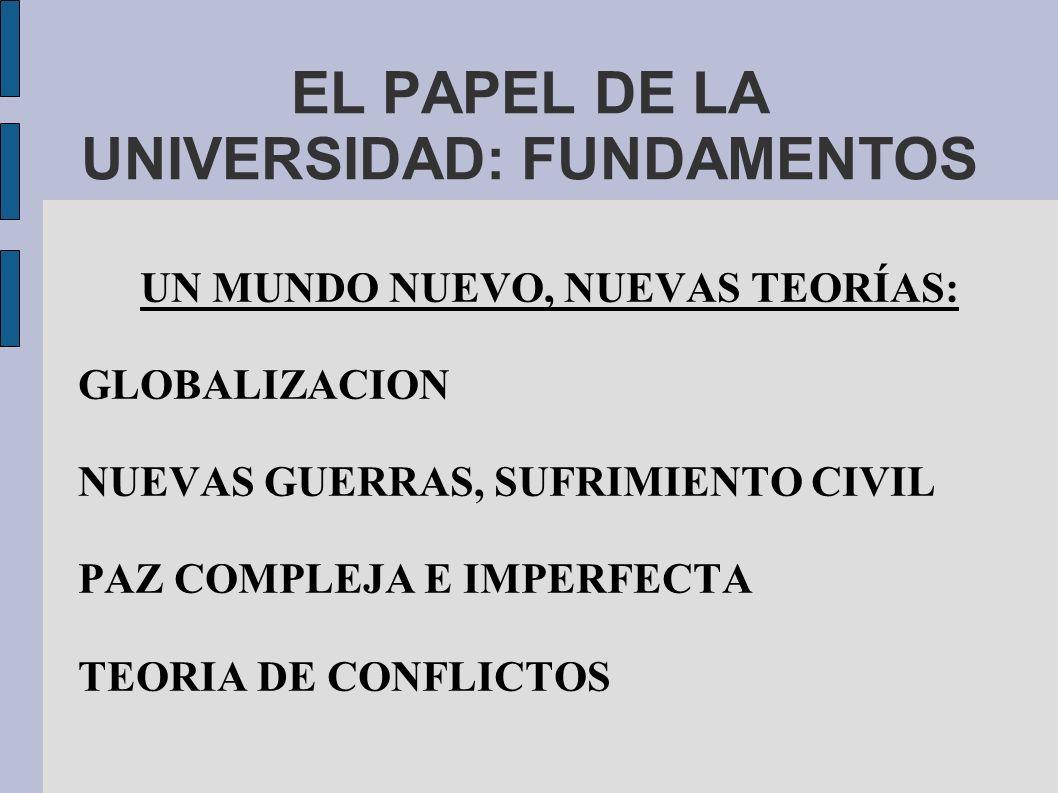 EL PAPEL DE LA UNIVERSIDAD: FUNDAMENTOS UN MUNDO NUEVO, NUEVAS TEORÍAS: GLOBALIZACION NUEVAS GUERRAS, SUFRIMIENTO CIVIL PAZ COMPLEJA E IMPERFECTA TEORIA DE CONFLICTOS