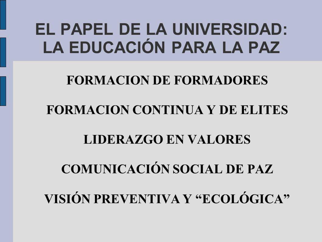 EL PAPEL DE LA UNIVERSIDAD: LA EDUCACIÓN PARA LA PAZ FORMACION DE FORMADORES FORMACION CONTINUA Y DE ELITES LIDERAZGO EN VALORES COMUNICACIÓN SOCIAL DE PAZ VISIÓN PREVENTIVA Y ECOLÓGICA