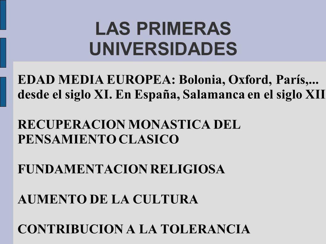 LAS PRIMERAS UNIVERSIDADES EDAD MEDIA EUROPEA: Bolonia, Oxford, París,... desde el siglo XI. En España, Salamanca en el siglo XIII RECUPERACION MONAST