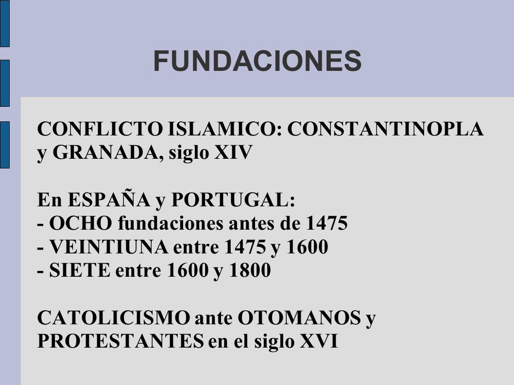 FUNDACIONES CONFLICTO ISLAMICO: CONSTANTINOPLA y GRANADA, siglo XIV En ESPAÑA y PORTUGAL: - OCHO fundaciones antes de 1475 - VEINTIUNA entre 1475 y 1600 - SIETE entre 1600 y 1800 CATOLICISMO ante OTOMANOS y PROTESTANTES en el siglo XVI