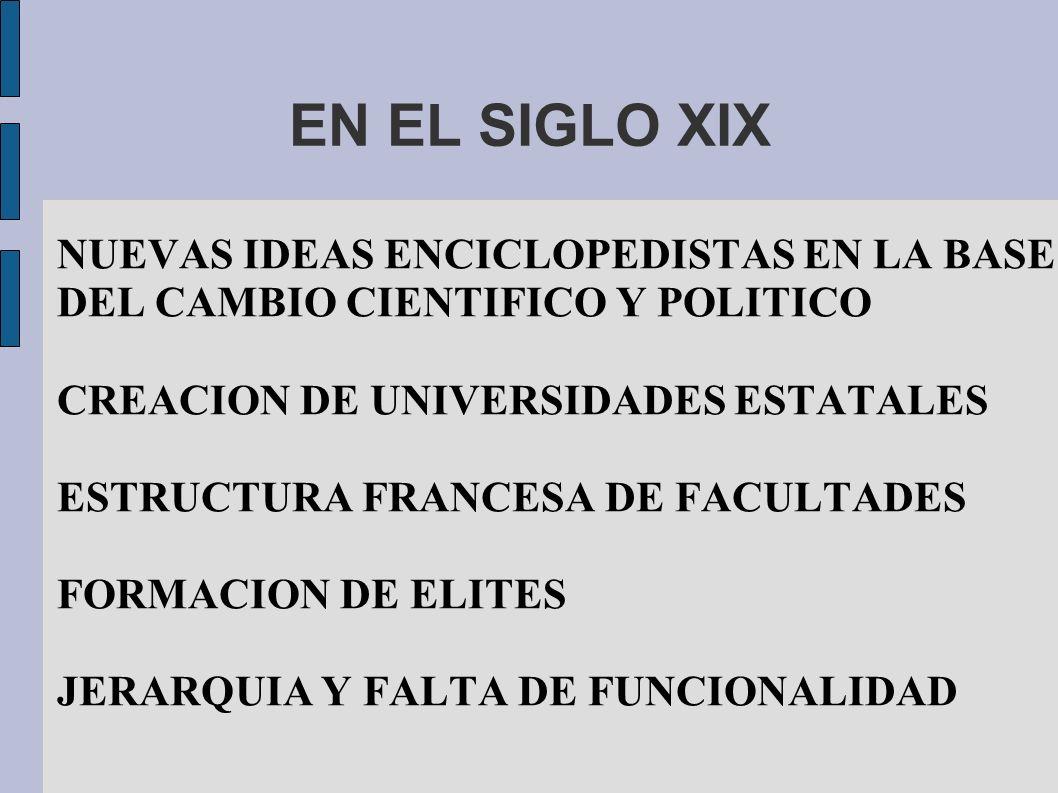 EN EL SIGLO XIX NUEVAS IDEAS ENCICLOPEDISTAS EN LA BASE DEL CAMBIO CIENTIFICO Y POLITICO CREACION DE UNIVERSIDADES ESTATALES ESTRUCTURA FRANCESA DE FA