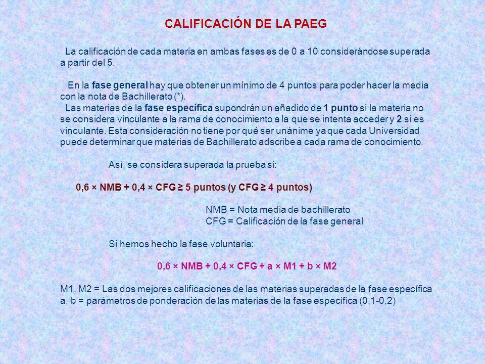 CALIFICACIÓN DE LA PAEG La calificación de cada materia en ambas fases es de 0 a 10 considerándose superada a partir del 5. En la fase general hay que