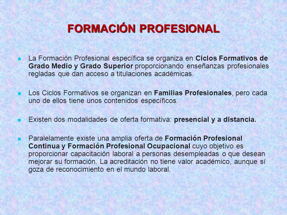 La Formación Profesional específica se organiza en Ciclos Formativos de Grado Medio y Grado Superior proporcionando enseñanzas profesionales regladas