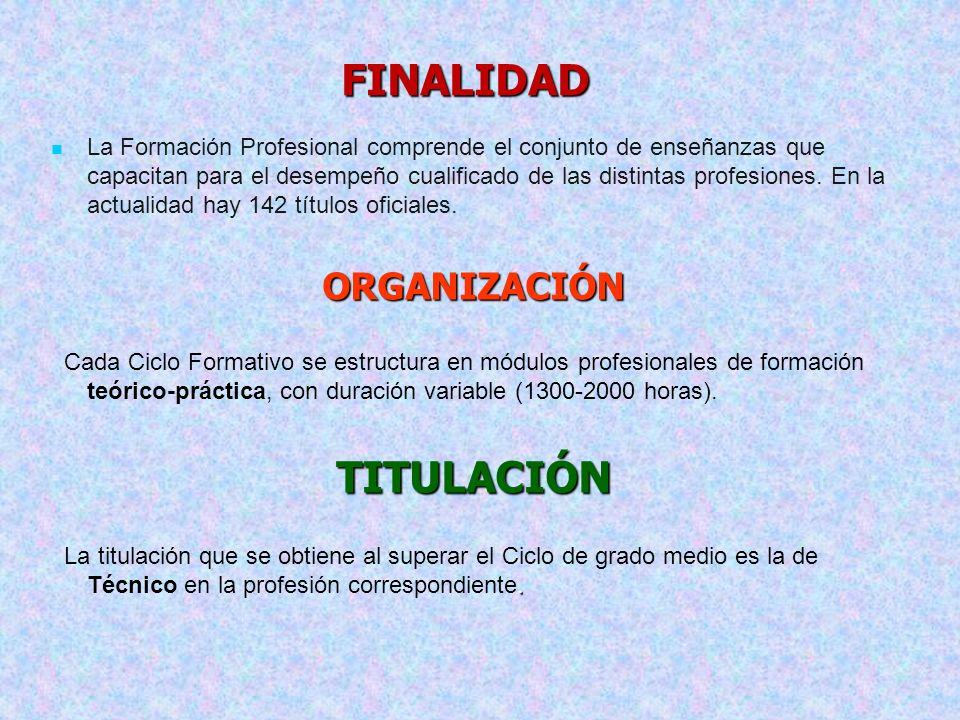 FINALIDAD La Formación Profesional comprende el conjunto de enseñanzas que capacitan para el desempeño cualificado de las distintas profesiones. En la