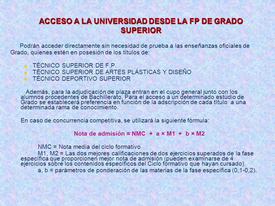ACCESO A LA UNIVERSIDAD DESDE LA FP DE GRADO SUPERIOR Podrán acceder directamente sin necesidad de prueba a las enseñanzas oficiales de Grado, quienes