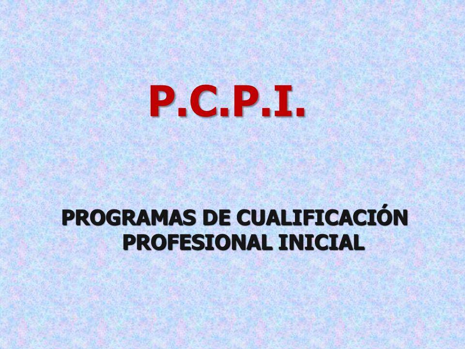 P.C.P.I. PROGRAMAS DE CUALIFICACIÓN PROFESIONAL INICIAL