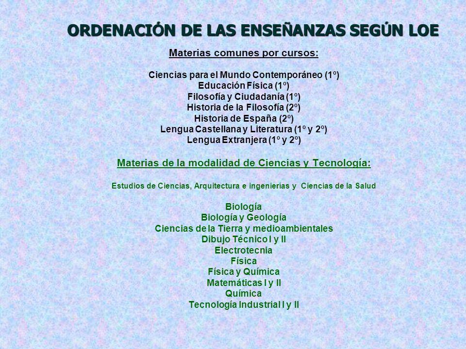 ORDENACI Ó N DE LAS ENSE Ñ ANZAS SEG Ú N LOE Materias comunes por cursos : Ciencias para el Mundo Contemporáneo (1º) Educación Física (1º) Filosofía y