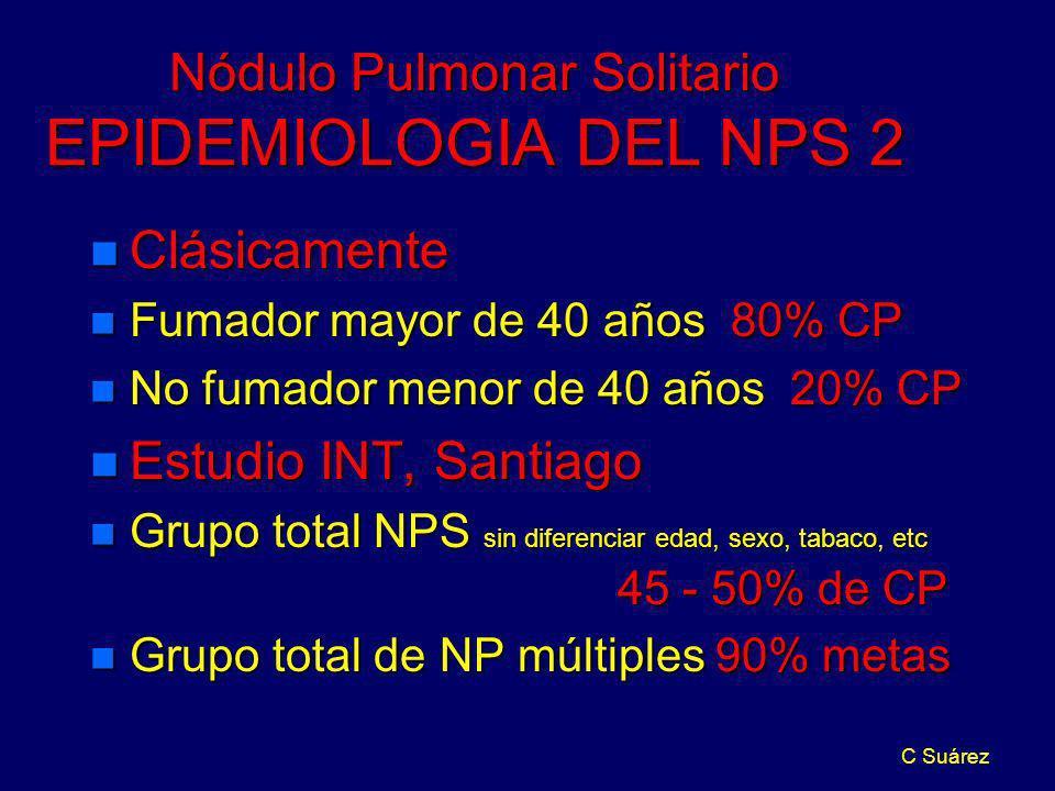 C Suárez Nódulo Pulmonar Solitario EPIDEMIOLOGIA DEL NPS 2 n Clásicamente n Fumador mayor de 40 años 80% CP n No fumador menor de 40 años 20% CP n Est