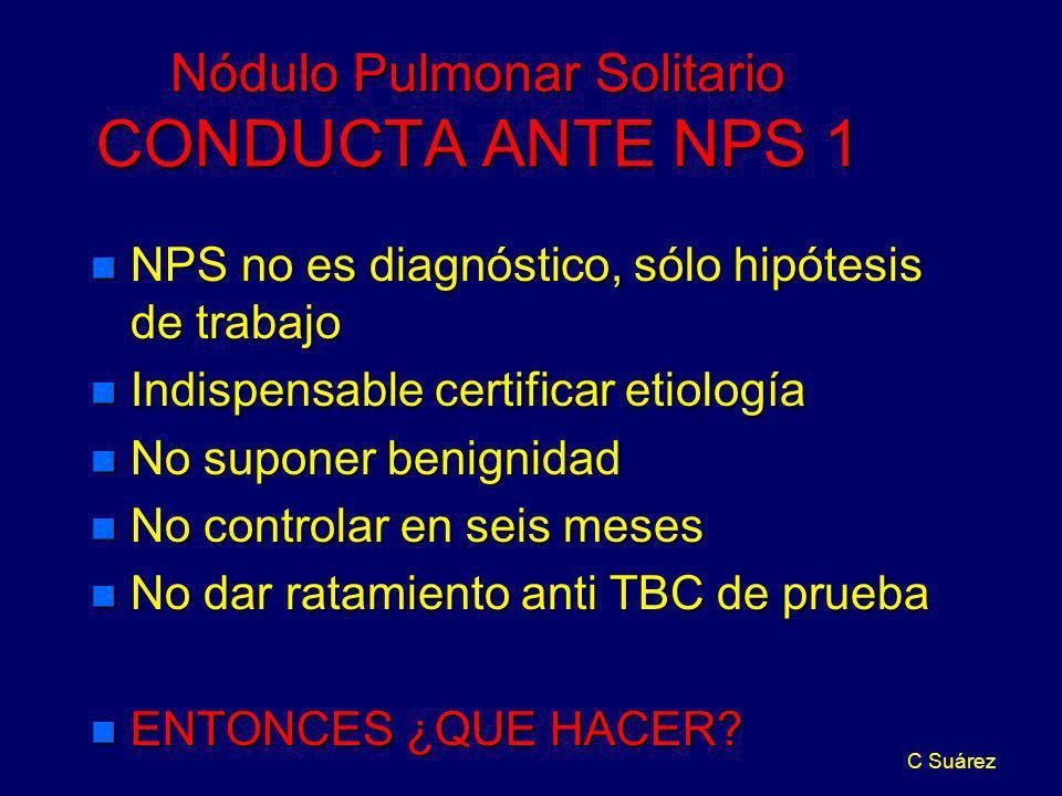 C Suárez Nódulo Pulmonar Solitario CONDUCTA ANTE NPS 1 n NPS no es diagnóstico, sólo hipótesis de trabajo n Indispensable certificar etiología n No su
