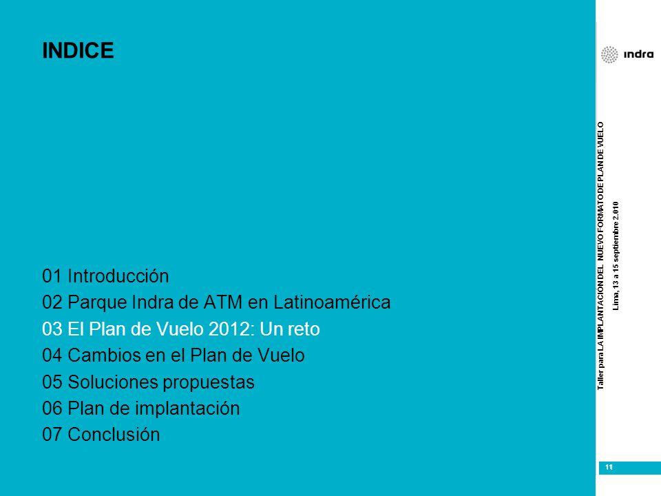 Taller para LA IMPLANTACIÓN DEL NUEVO FORMATO DE PLAN DE VUELO Lima, 13 a 15 septiembre 2.010 11 INDICE 01 Introducción 02 Parque Indra de ATM en Lati
