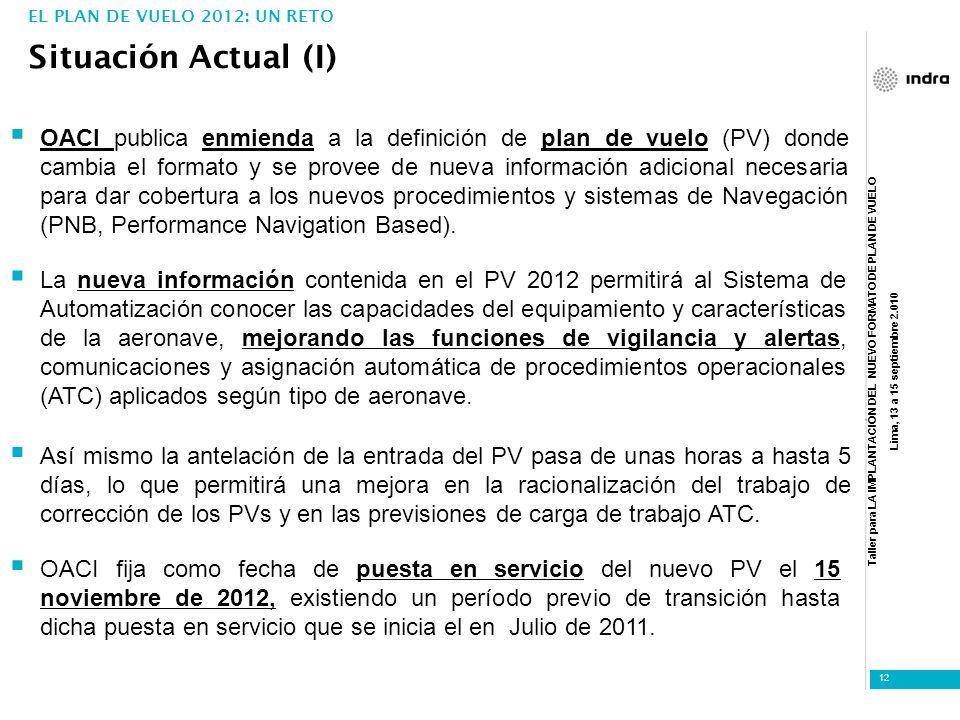 Taller para LA IMPLANTACIÓN DEL NUEVO FORMATO DE PLAN DE VUELO Lima, 13 a 15 septiembre 2.010 12 Situación Actual (I) EL PLAN DE VUELO 2012: UN RETO O