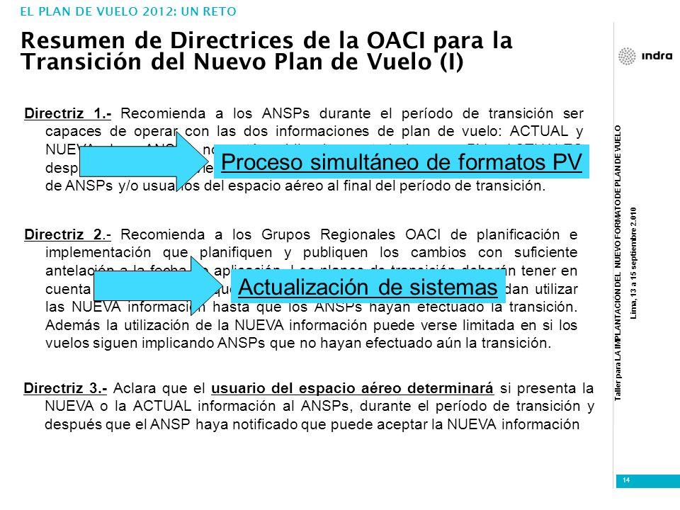 Taller para LA IMPLANTACIÓN DEL NUEVO FORMATO DE PLAN DE VUELO Lima, 13 a 15 septiembre 2.010 14 Directriz 2.- Recomienda a los Grupos Regionales OACI