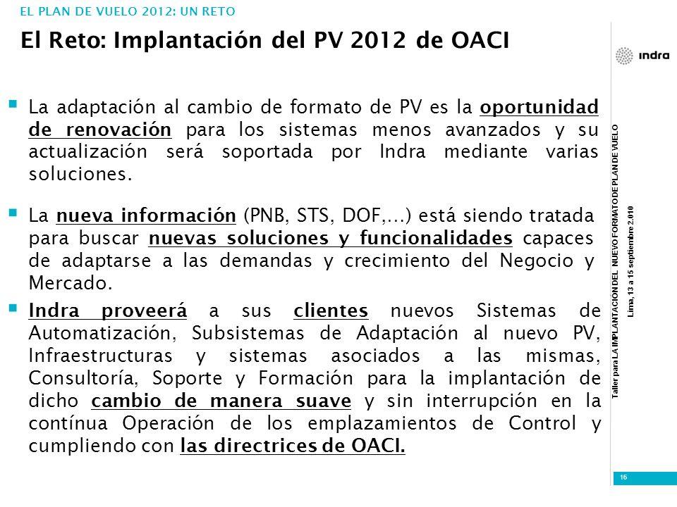 Taller para LA IMPLANTACIÓN DEL NUEVO FORMATO DE PLAN DE VUELO Lima, 13 a 15 septiembre 2.010 16 El Reto: Implantación del PV 2012 de OACI EL PLAN DE