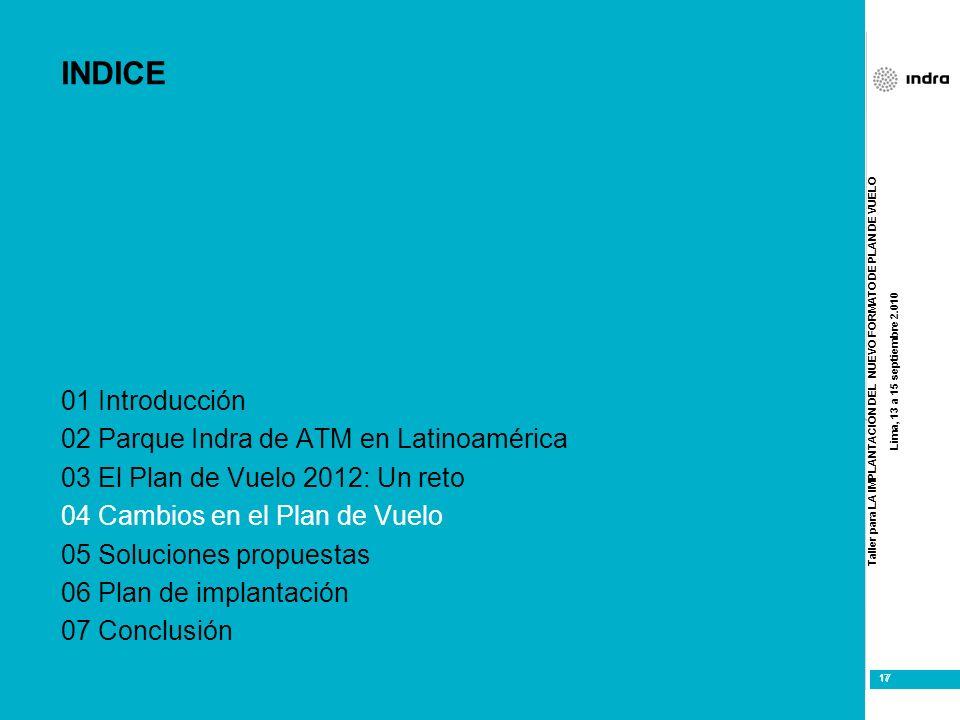 Taller para LA IMPLANTACIÓN DEL NUEVO FORMATO DE PLAN DE VUELO Lima, 13 a 15 septiembre 2.010 17 INDICE 01 Introducción 02 Parque Indra de ATM en Lati