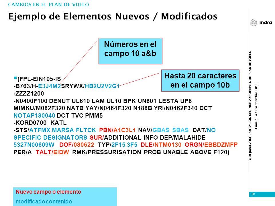 Taller para LA IMPLANTACIÓN DEL NUEVO FORMATO DE PLAN DE VUELO Lima, 13 a 15 septiembre 2.010 20 (FPL-EIN105-IS -B763/H-E3J4M2SRYWX/HB2U2V2G1 -ZZZZ120