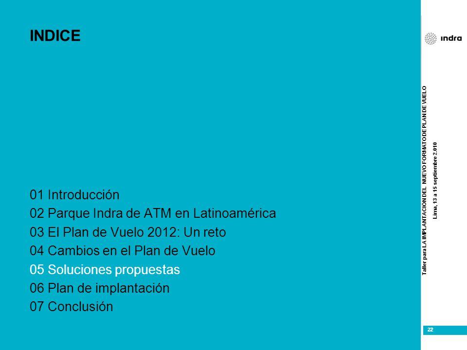 Taller para LA IMPLANTACIÓN DEL NUEVO FORMATO DE PLAN DE VUELO Lima, 13 a 15 septiembre 2.010 22 INDICE 01 Introducción 02 Parque Indra de ATM en Lati
