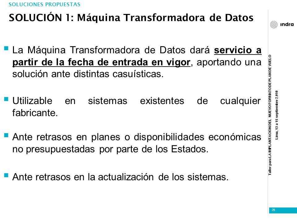 Taller para LA IMPLANTACIÓN DEL NUEVO FORMATO DE PLAN DE VUELO Lima, 13 a 15 septiembre 2.010 25 SOLUCIONES PROPUESTAS SOLUCIÓN 1: Máquina Transformad