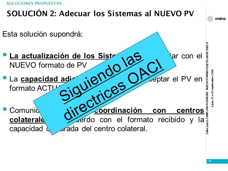 Taller para LA IMPLANTACIÓN DEL NUEVO FORMATO DE PLAN DE VUELO Lima, 13 a 15 septiembre 2.010 26 Comunicación para coordinación con centros colaterale