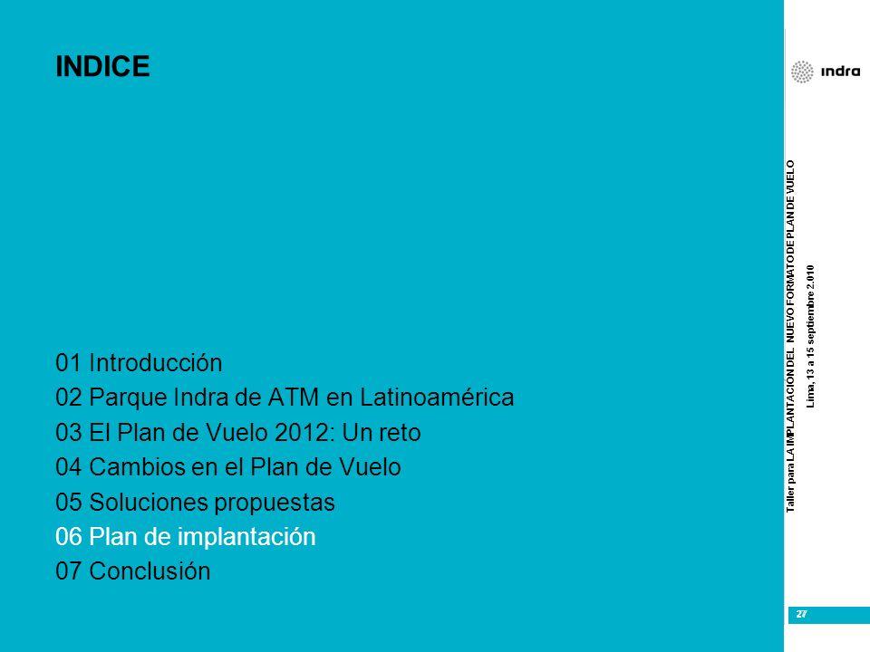 Taller para LA IMPLANTACIÓN DEL NUEVO FORMATO DE PLAN DE VUELO Lima, 13 a 15 septiembre 2.010 27 INDICE 01 Introducción 02 Parque Indra de ATM en Lati