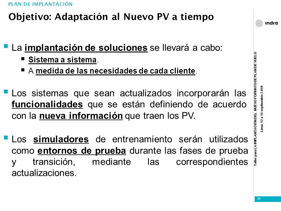 Taller para LA IMPLANTACIÓN DEL NUEVO FORMATO DE PLAN DE VUELO Lima, 13 a 15 septiembre 2.010 28 La implantación de soluciones se llevará a cabo: Sist
